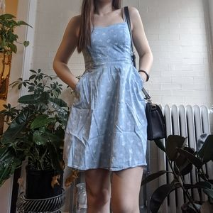 SO Denim Floral Dress with Pockets and Adjustable